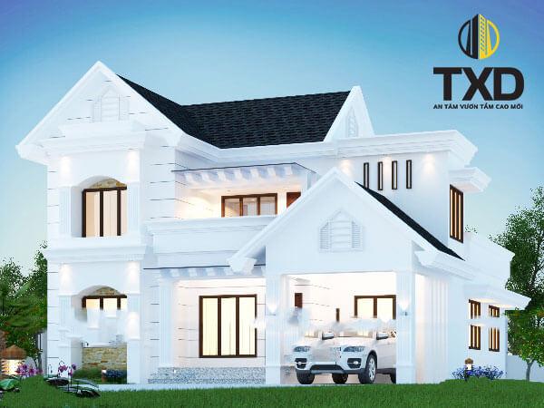 Thiết kế biệt thự mini 2 tầng 100m2 với mái thái kiểu cách