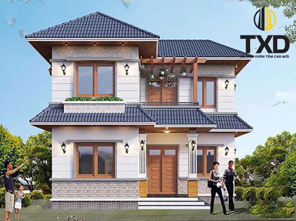 Thiết kế biệt thự mini 100m2 với hệ thống mái thái đẹp
