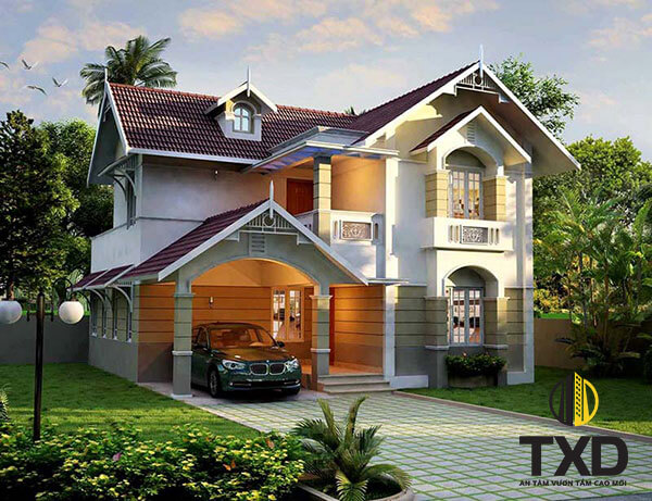 Thiết kế biệt thự mini 2 tầng theo phong cách tân cổ điển