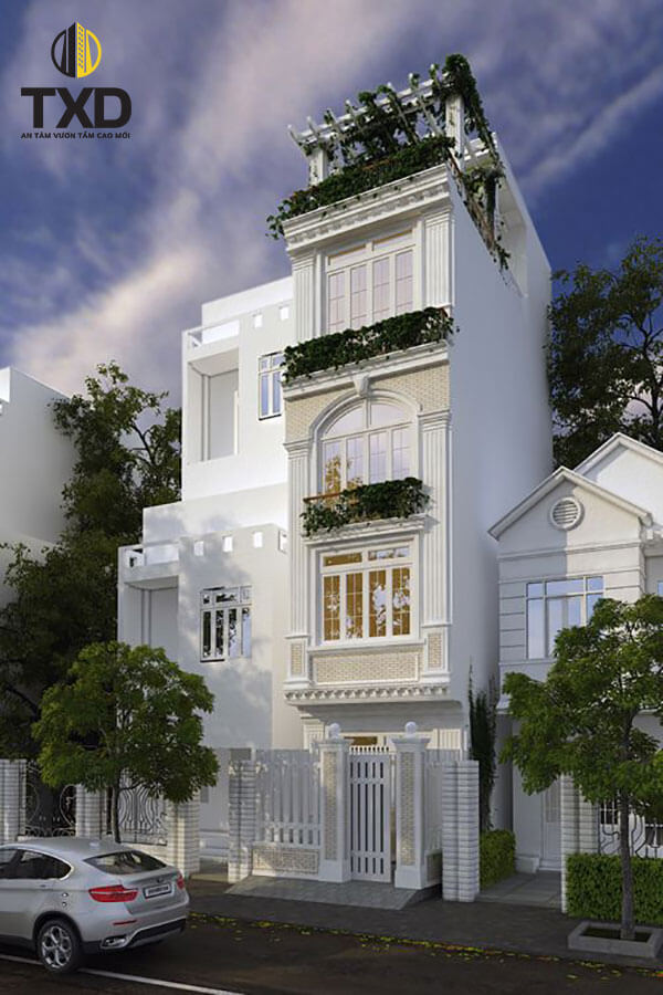 Thiết kế nhà phố 4 tầng đẹp với không gian mở hiện đại