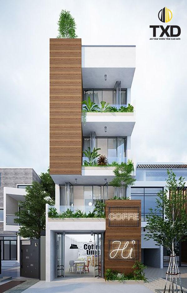 Mẫu nhà phố 4 tầng tích hợp cửa hàng kinh doanh